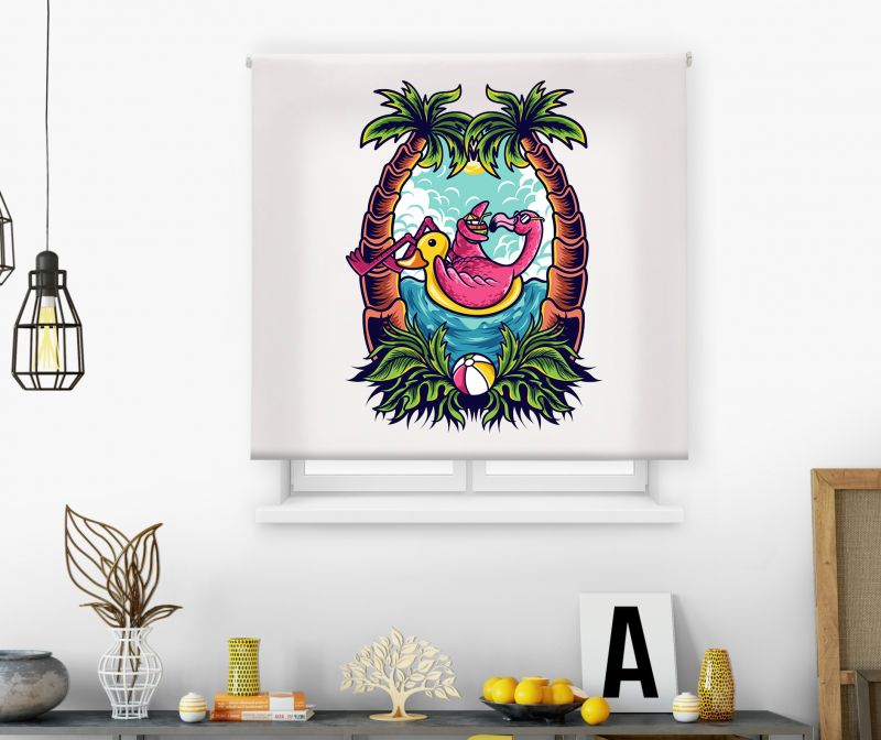 Estor impresión digital  juvenil Cool Fiction Flamingo palms