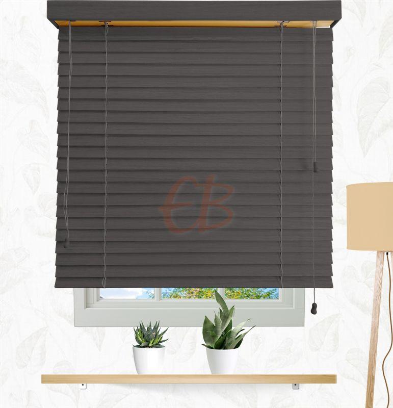 Veneciana de madera 50 mm Gris Carbón 62936 T