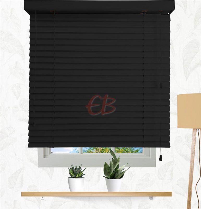 veneciana de madera 50 mm negro lacado barniz mate