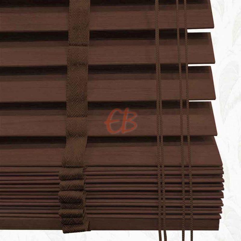 Veneciana de madera 50 mm Nogal oscuro barniz mate