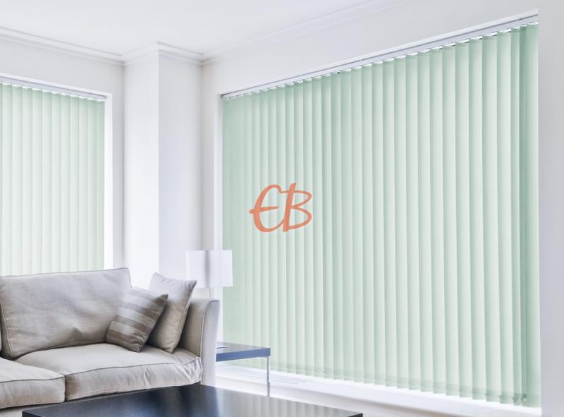 cortina vertical loneta resinada resistente color azul verdoso