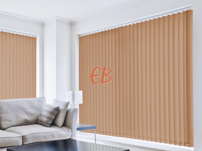 cortina vertical loneta resinada resistente color teja