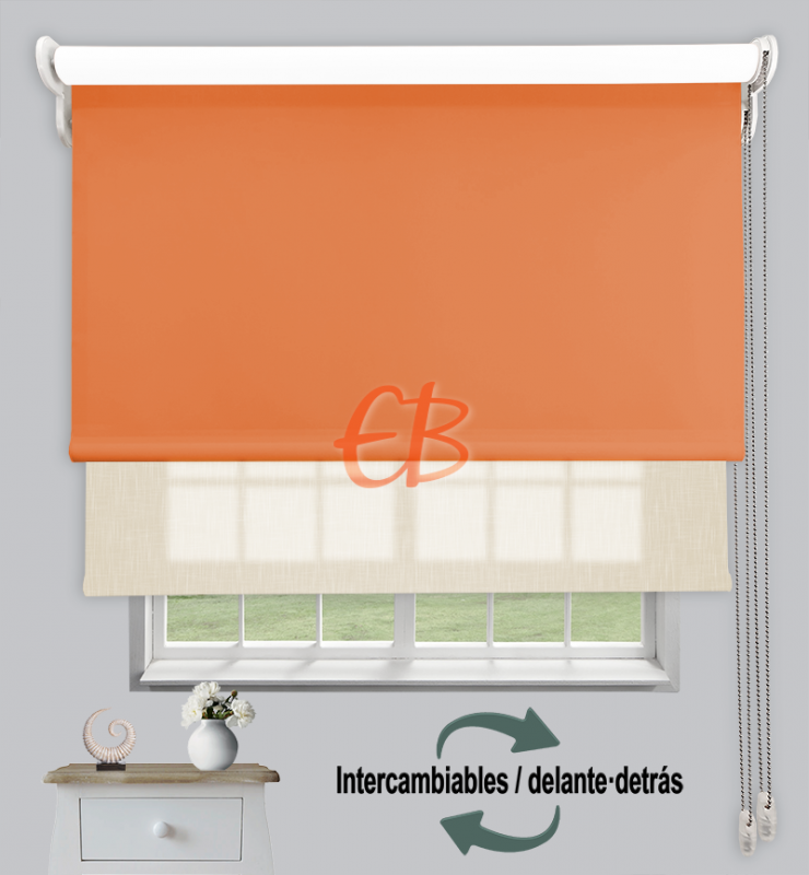 Estor doble enrollable Naranja CAB20/Crudo SH01