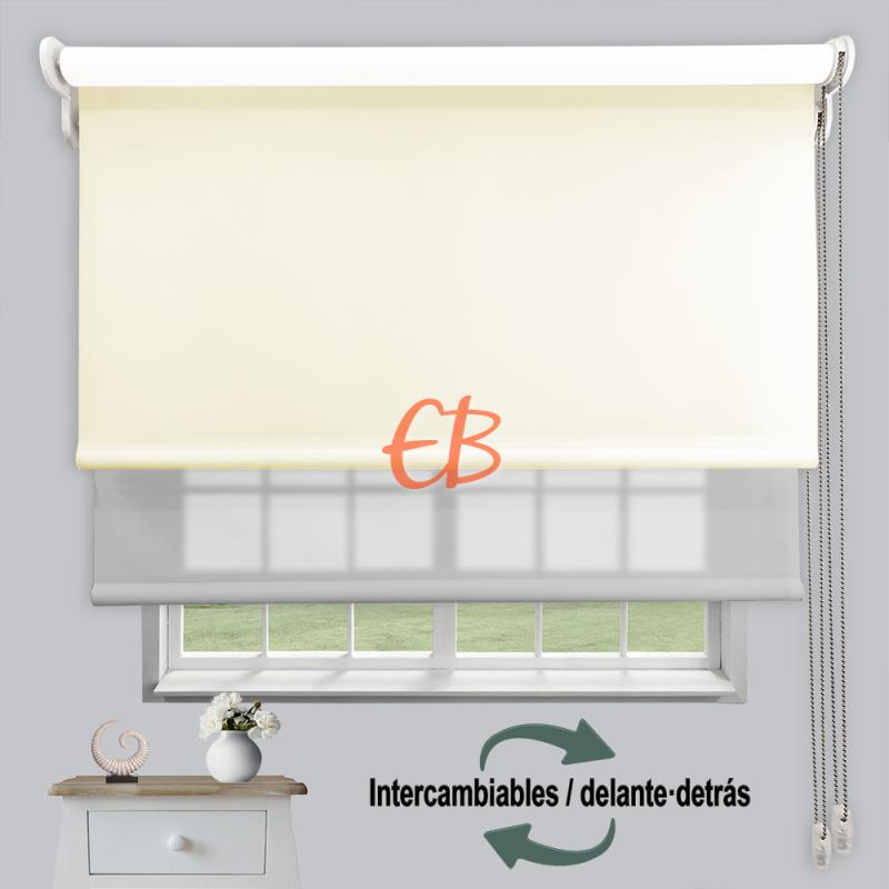 Estor doble enrollable luz y sombra Beige 3702/Gris 6005