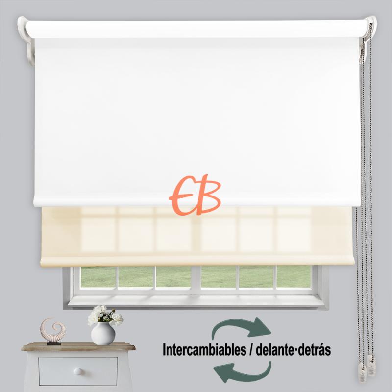 Estor doble enrollable luz y sombra Blanco 3701/Beige 6002