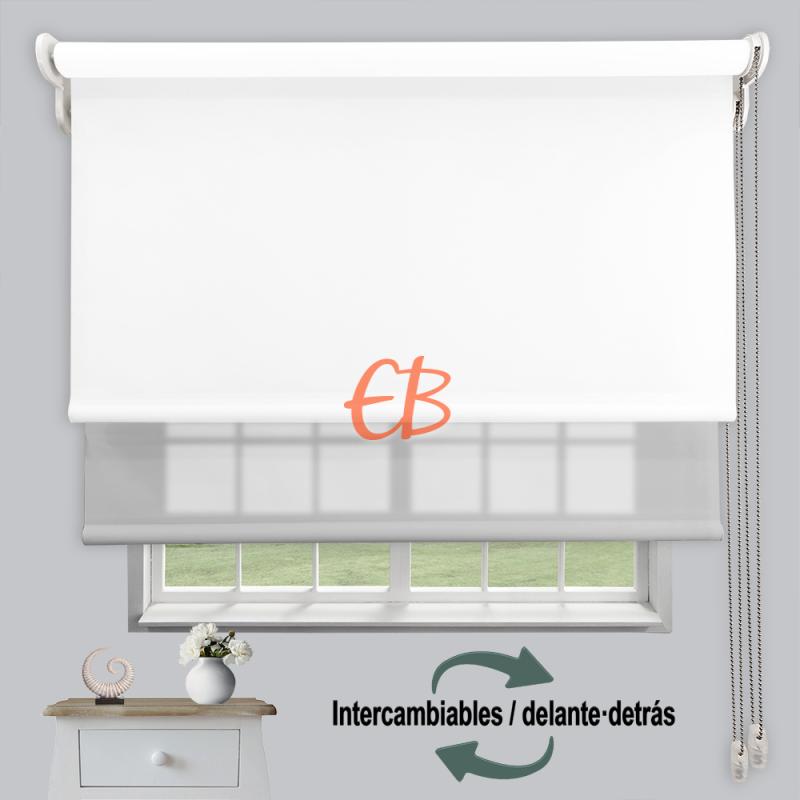 Estor doble enrollable luz y sombra Blanco 3701/Gris 6005
