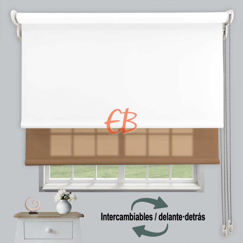 Estor doble enrollable luz y sombra Blanco 3701/Marrón 6003
