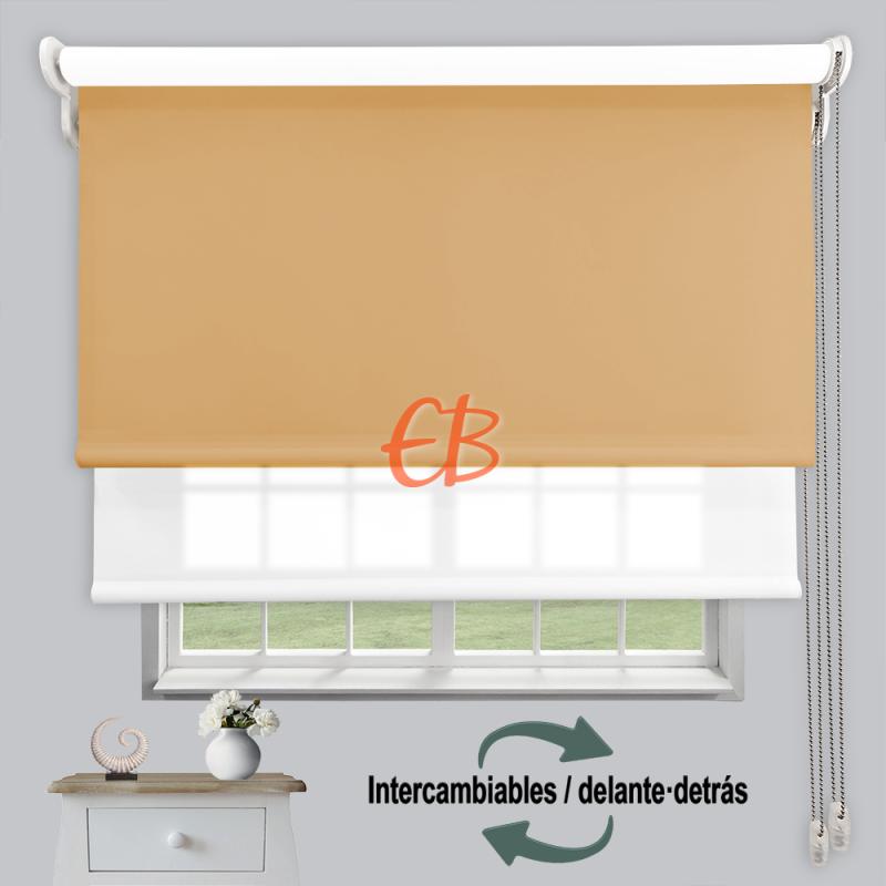 Estor doble enrollable luz y sombra Crema 3704/Blanco 6001