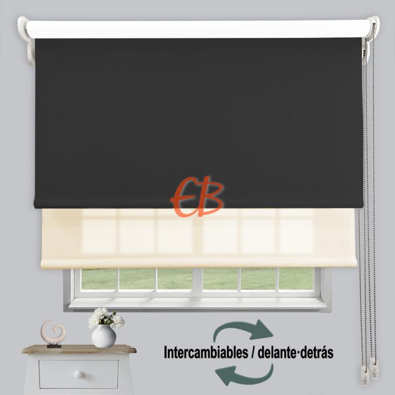 Estor doble enrollable luz y sombra Grafito 3706/Beige 6002