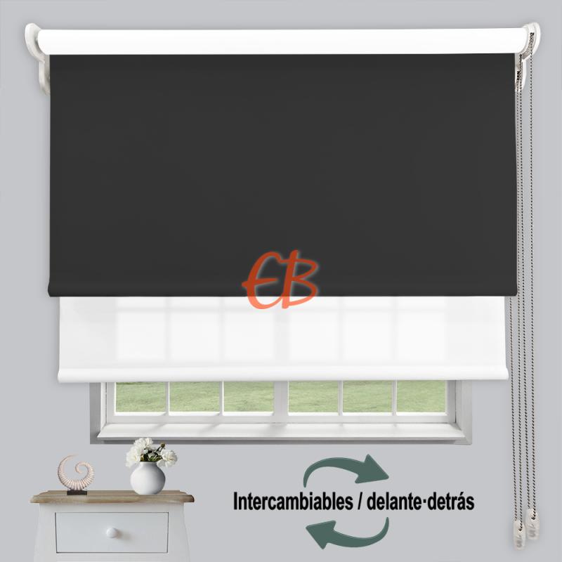 Estor doble enrollable luz y sombra Grafito 3706/Blanco 6001