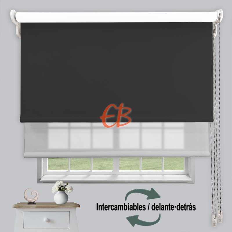 Estor doble enrollable luz y sombra Grafito 3706/Gris 6005