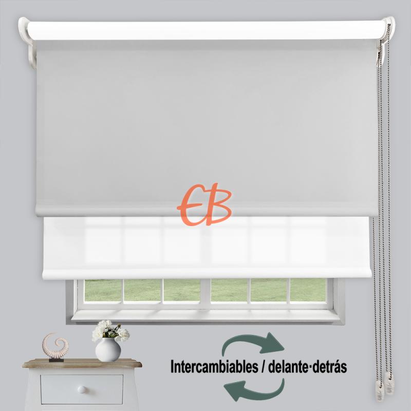 Estor doble enrollable luz y sombra Perla 3705/Blanco 6001