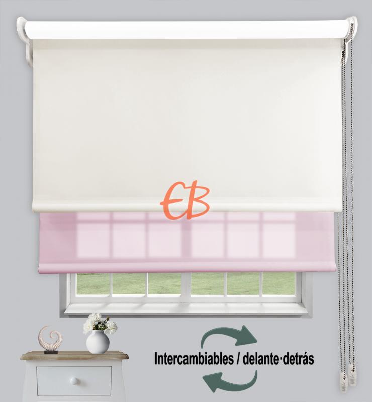 Estor doble enrollable Opaco+Traslúcido Blanco roto 6702/Rosa claro 3308