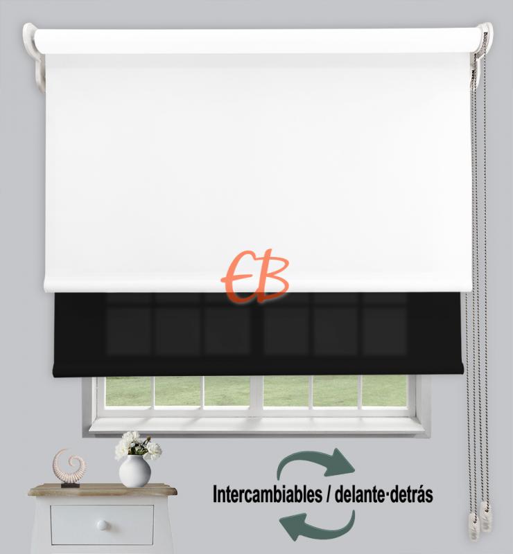 Estor doble enrollable Opaco+Traslúcido Blanco 6701/Antracita 3330