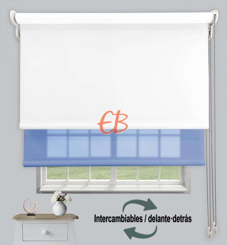 Estor doble enrollable Opaco+Traslúcido Blanco 6701/Azul 3306