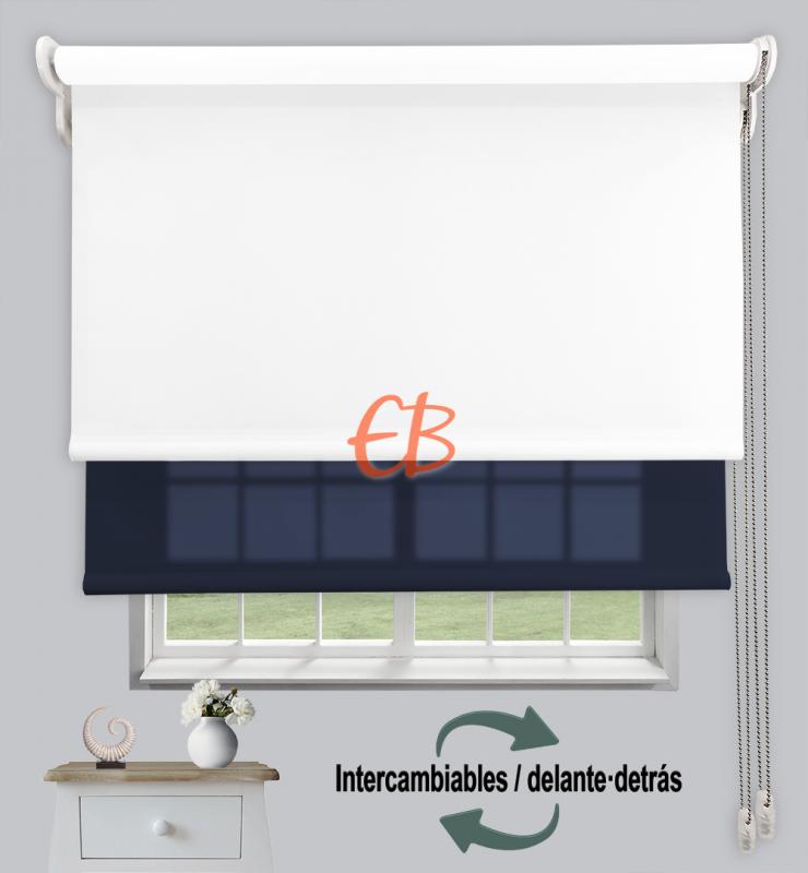 Estor doble enrollable Opaco+Traslúcido Blanco 6701/Azul oscuro 3307