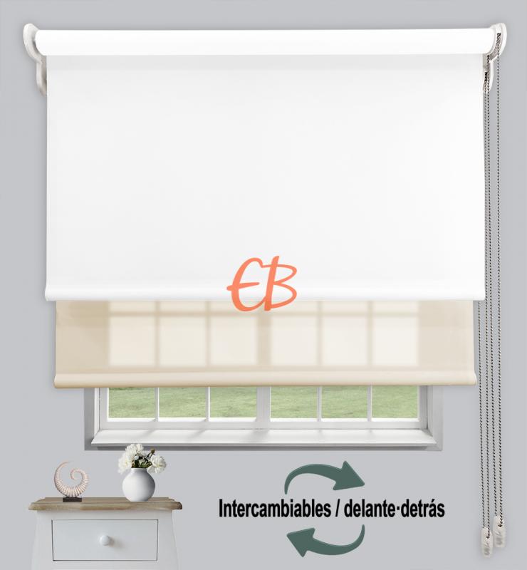 Estor doble enrollable Opaco+Traslúcido Blanco 6701/Beige 3302