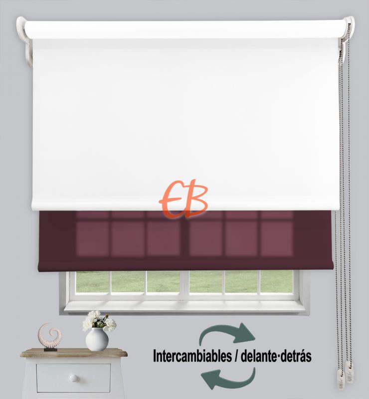 Estor doble enrollable Opaco+Traslúcido Blanco 6701/Berenjena 3309