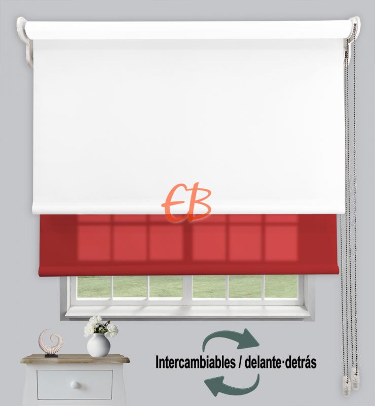 Estor doble enrollable Opaco+Traslúcido Blanco 6701/Burdeos 3327