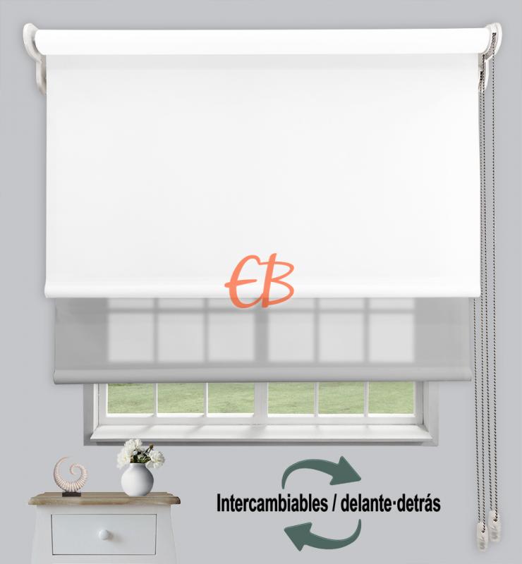 Estor doble enrollable Opaco+Traslúcido Blanco 6701/Gris claro 3328