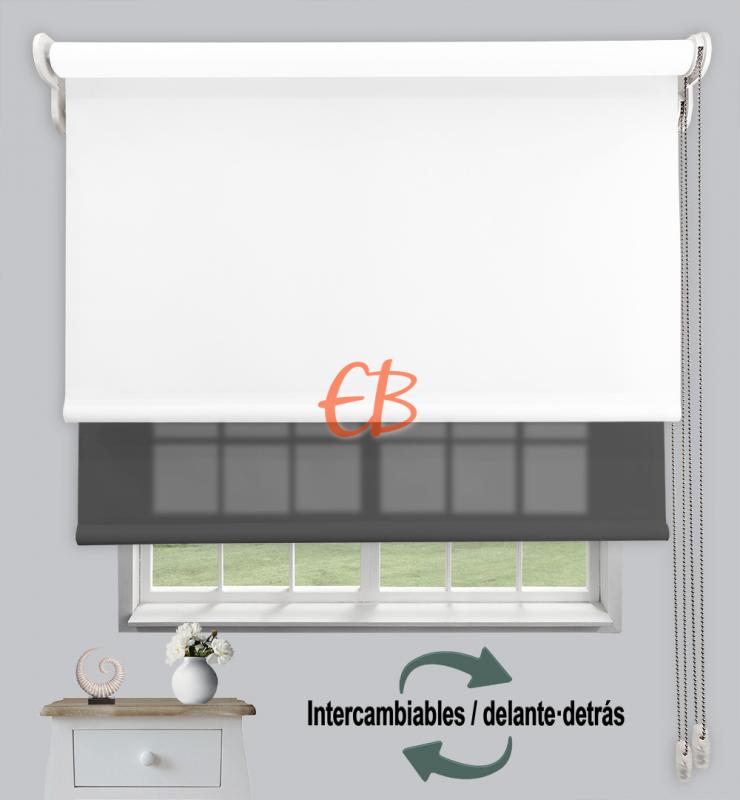 Estor doble enrollable Opaco+Traslúcido Blanco 6701/Gris oscuro 3329