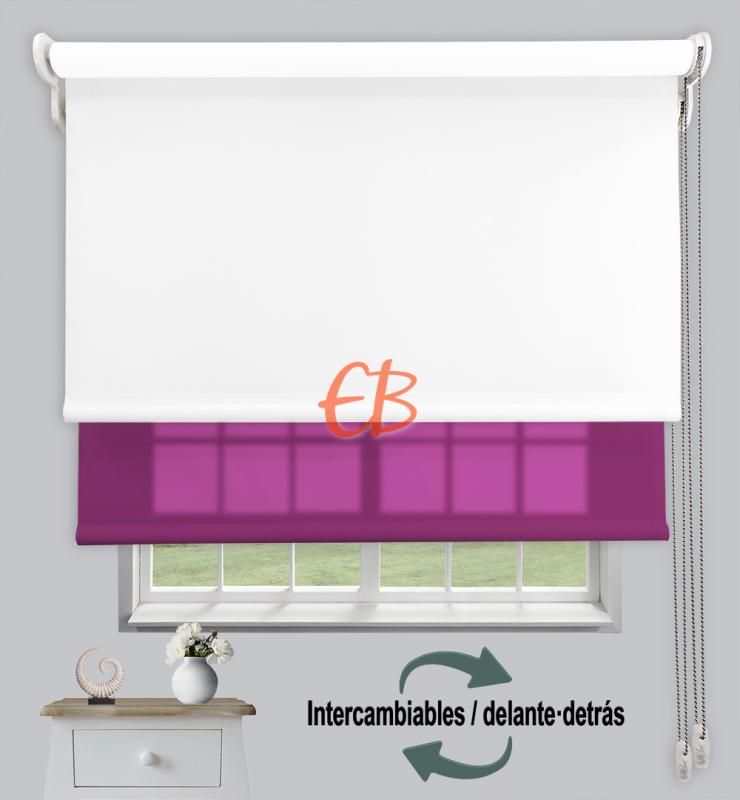 Estor doble enrollable Opaco+Traslúcido Blanco 6701/Morado 3320