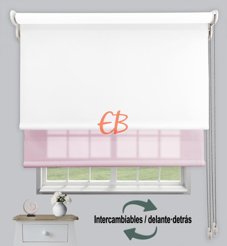 Estor doble enrollable Opaco+Traslúcido Blanco 6701/Rosa claro 3308