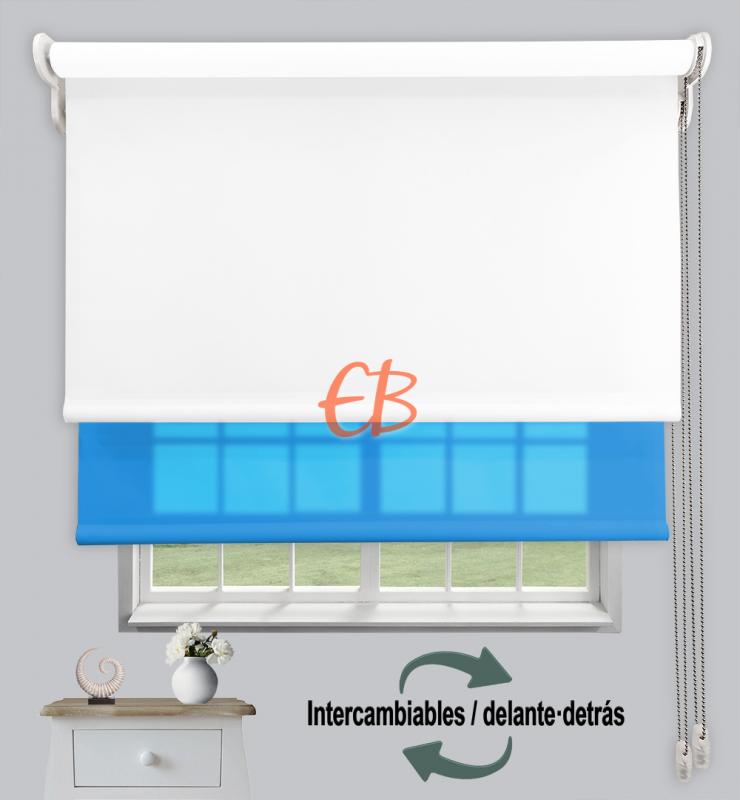Estor doble enrollable Opaco+Traslúcido Blanco 6701/Turquesa 3318