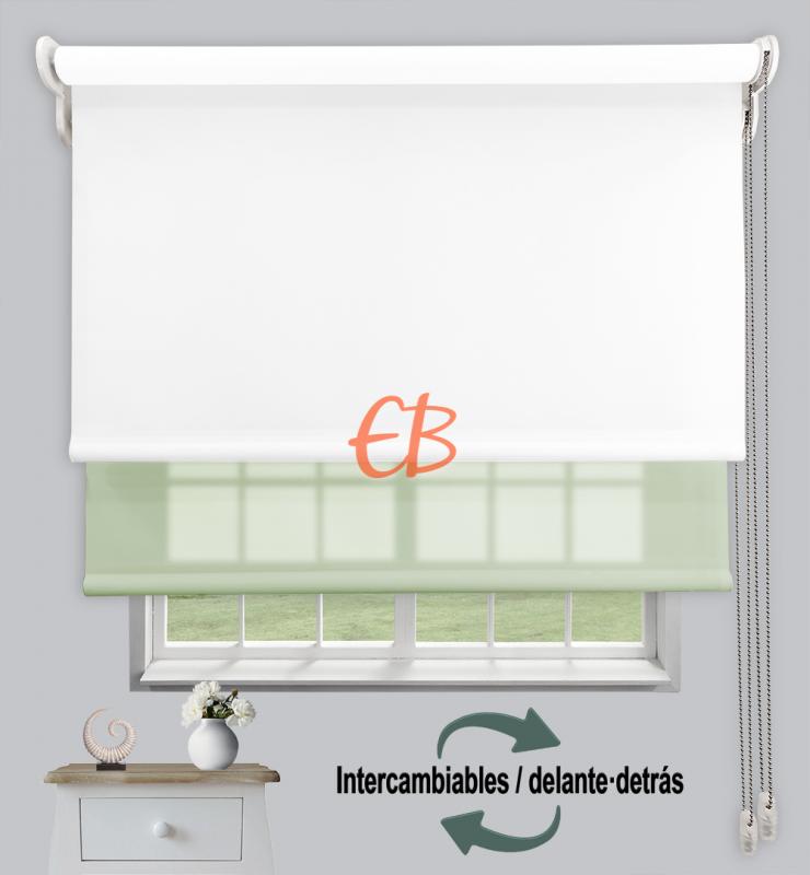 Estor doble enrollable Opaco+Traslúcido Blanco 6701/Verde claro 3304