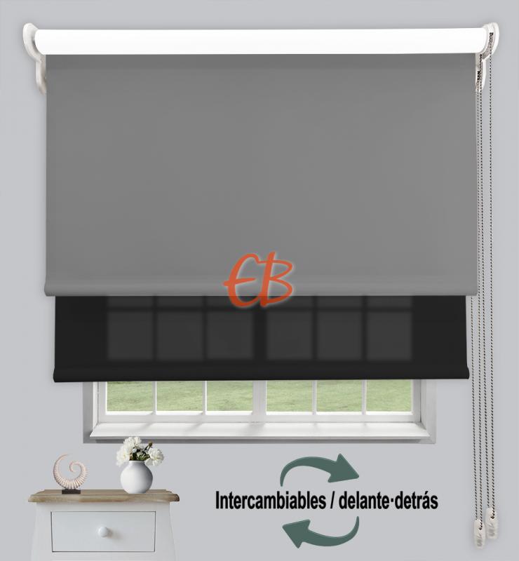 Estor doble enrollable Opaco+Traslúcido Gris oscuro 6704/Antracita 3330