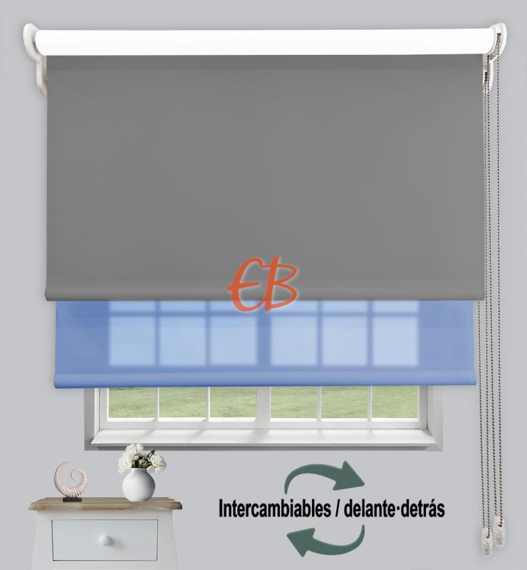 Estor doble enrollable Opaco+Traslúcido Gris oscuro 6704/Azul 3306