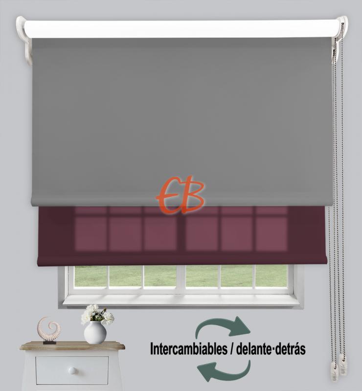 Estor doble enrollable Opaco+Traslúcido Gris oscuro 6704/Berenjena 3309
