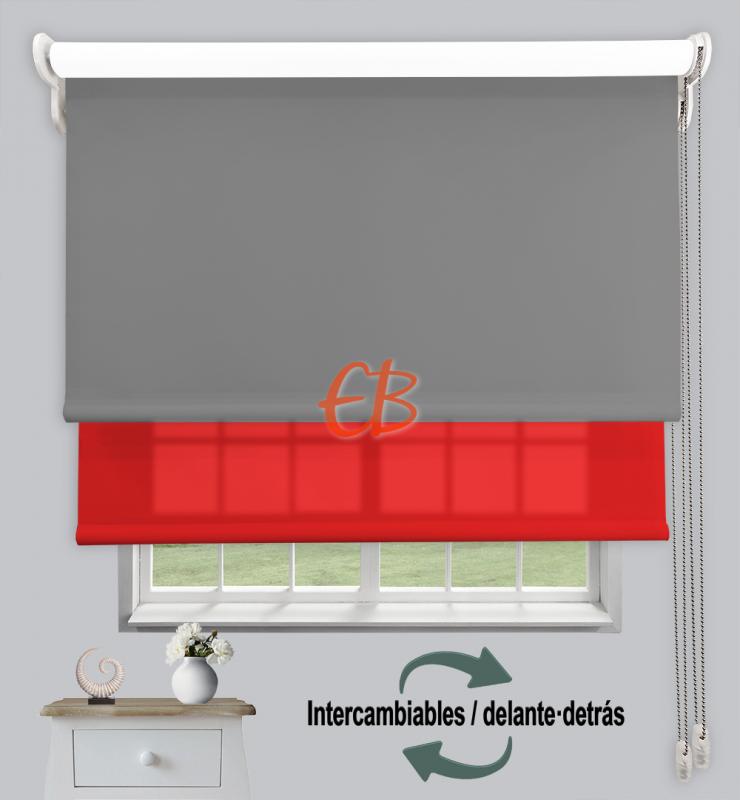 Estor doble enrollable Opaco+Traslúcido Gris oscuro 6704/Rojo 3319