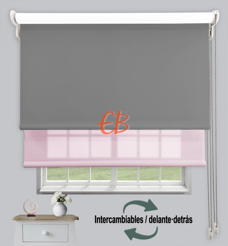 Estor doble enrollable Opaco+Traslúcido Gris oscuro 6704/Rosa claro 3308