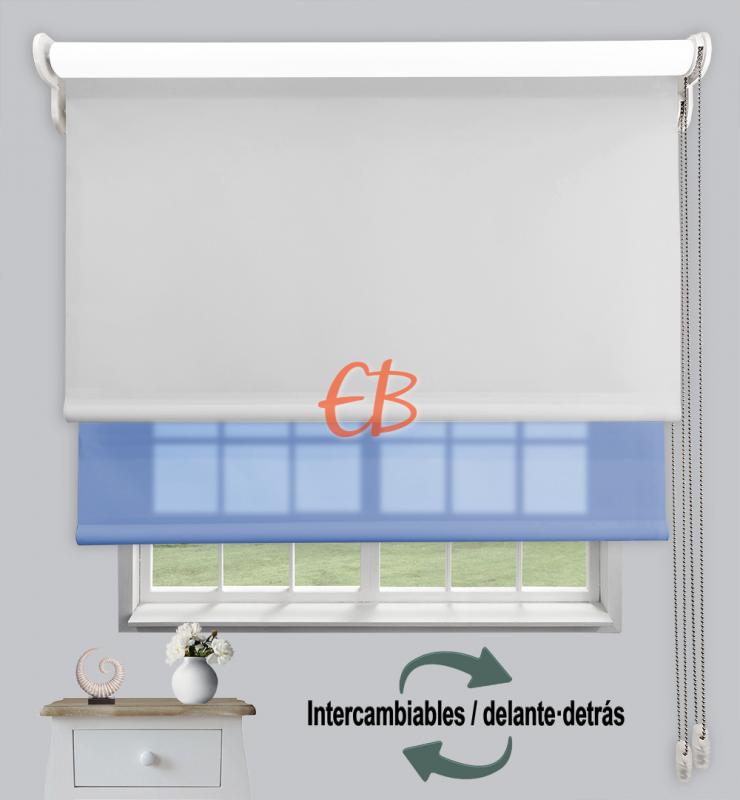 Estor doble enrollable Opaco+Traslúcido Perla 6703/Azul 3306