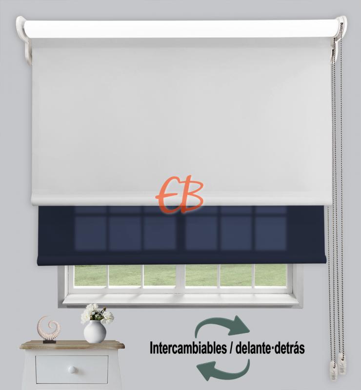 Estor doble enrollable Opaco+Traslúcido Perla 6703/Azul oscuro 3307