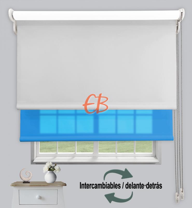 Estor doble enrollable Opaco+Traslúcido Perla 6703/Turquesa 3318