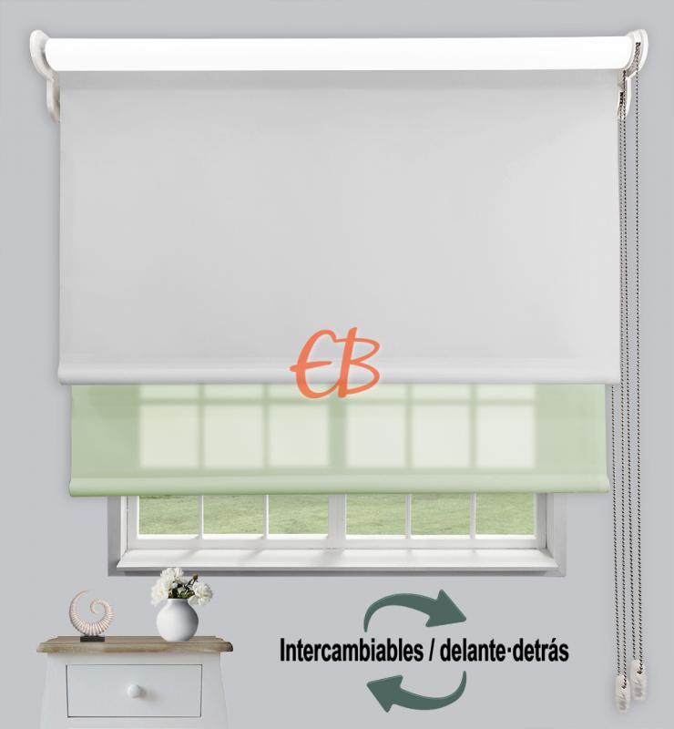 Estor doble enrollable Opaco+Traslúcido Perla 6703/Verde claro 3304