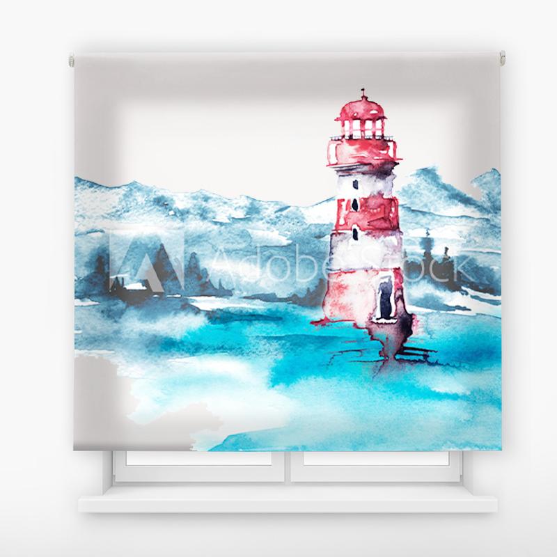 Estor Enrollable Impresión Digital Faros en pintura 12