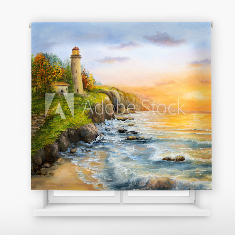 Estor Enrollable Impresión Digital Faros en pintura 15