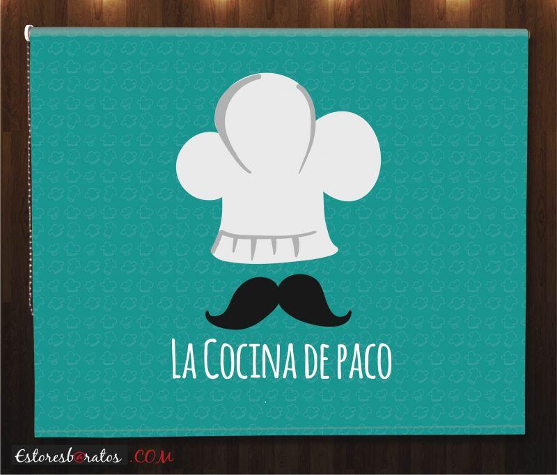 Estor enrollable cocina con tu nombre - Estoresbaratos com ...