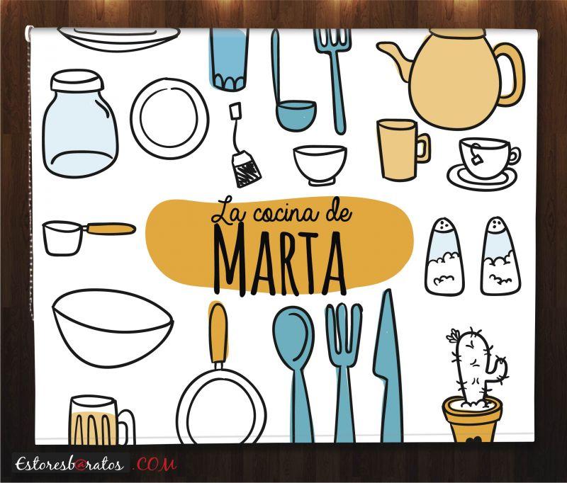 Estor enrollable cocina con tu nombre for Utensilios de cocina nombres e imagenes