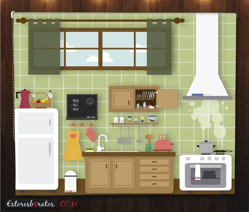 estor enrollable estampado cocina retro cocinando
