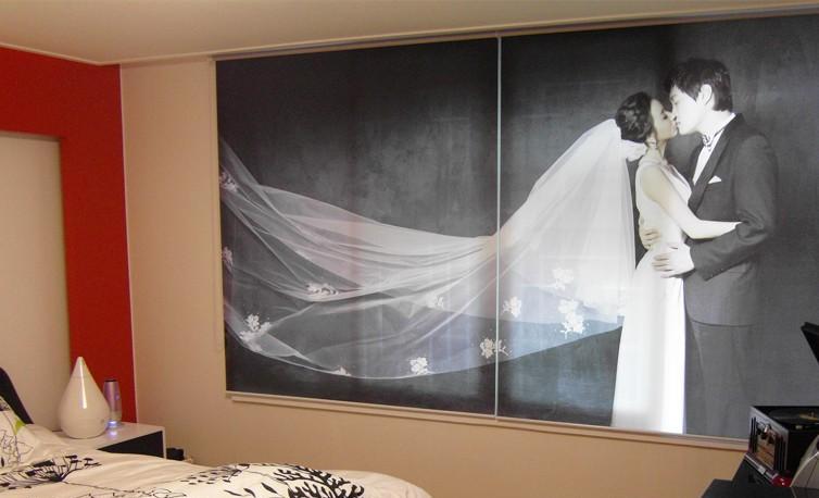 Estor fotográfico habitacion con foto boda