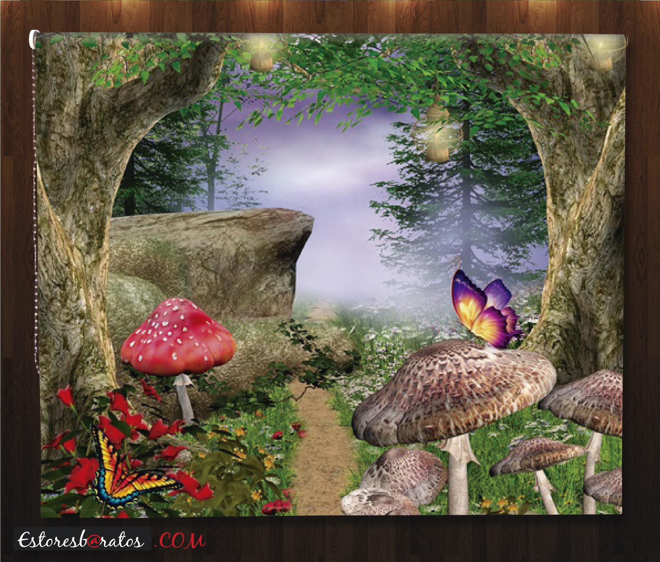 Estor fotográfico fantasía bosque animado
