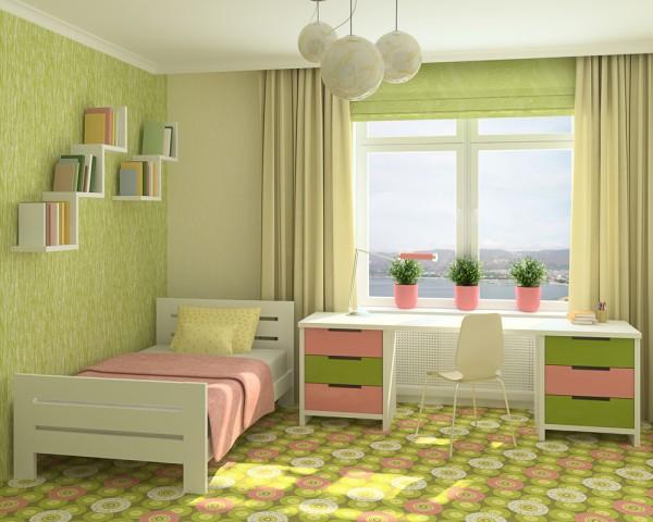 cortinas y estores verdes