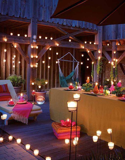 terraza de velas y colores