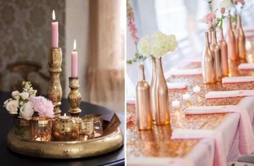 cobre y rosa mesa