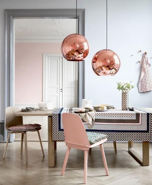 cocina cobre y rosa