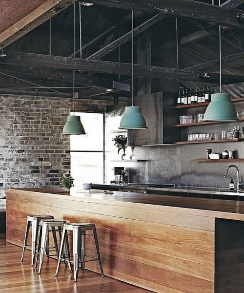 cocina madera y mint